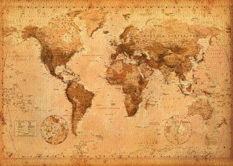 Mapa-múndi antigo  Pôster gigante
