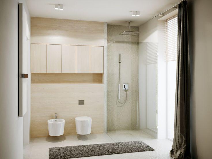 Kolor naturalnego drewna znakomicie komponuje się z białą płaszczyzną ścian oraz naturalnym kamieniem