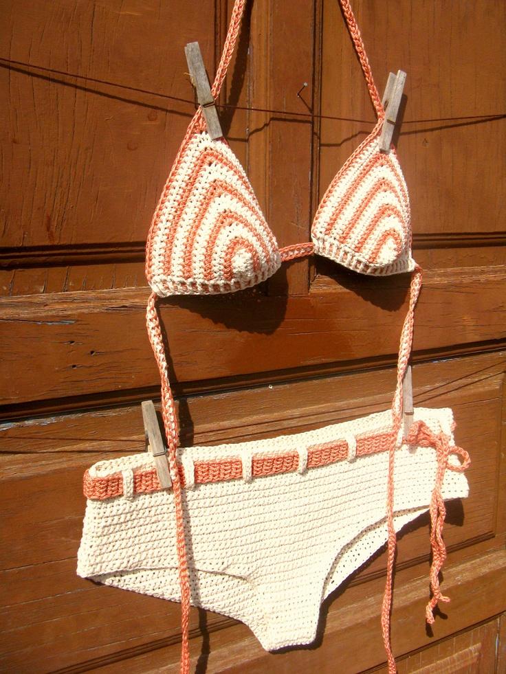 it's true love!! Crochet Bikini Top, White and salmon Pink. €22,00, via Etsy.