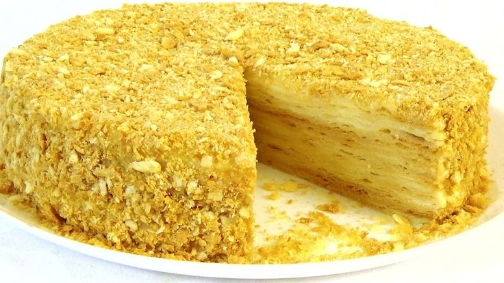 Всеми любимый домашний торт «Наполеон». «Наполеон» с заварным кремом. Ингредиенты: Тесто: 250 г сливочного масла3 стакана мукищепотка соли2/3 стакана холодной воды1 ст. л. 9% уксуса Крем: 1200 мл...