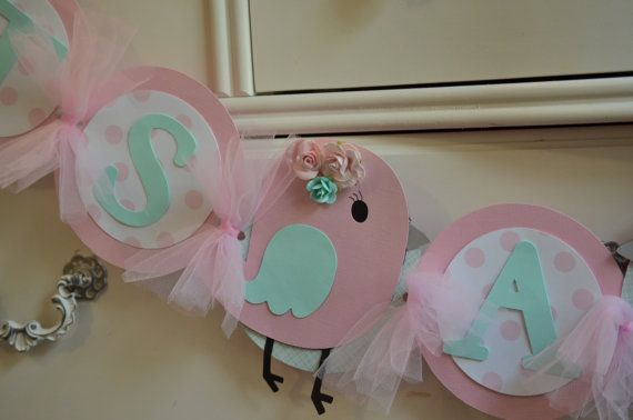Pink and Aqua Mint Bird Baby Shower Banner Its A Girl by LoveSews