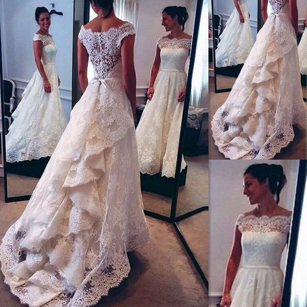 Discount 2016 Vintage Lace Wedding Dresses White Sheer Off