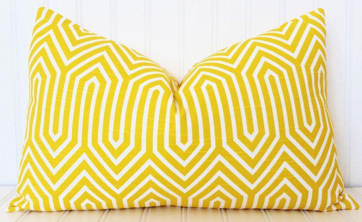 Yellow Pillow, Throw Pillow, Decorative Pillow Cover, Yellow White Pillow, Yellow Cushions, Cushion Covers by MariaClaireInteriors on Etsy https://www.etsy.com/listing/222256634/yellow-pillow-throw-pillow-decorative