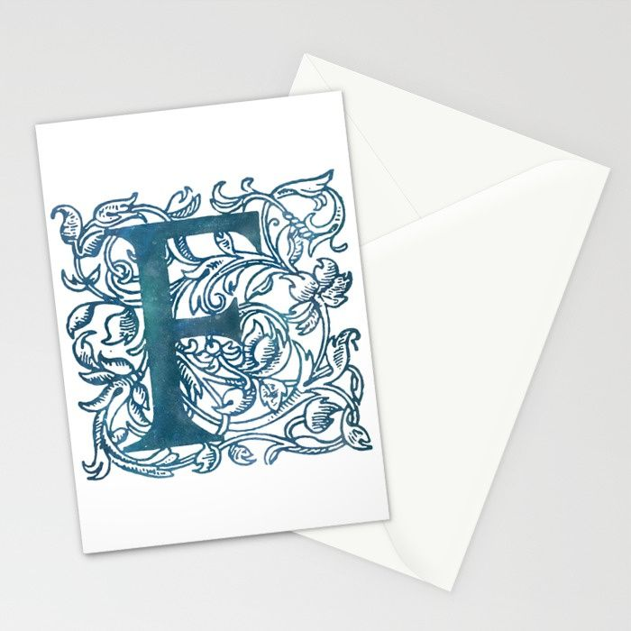 Letter F Antique Floral Letterpress Monogram Stationery Cards #monogram #letter #initial #antique #book #engraving #printing #f