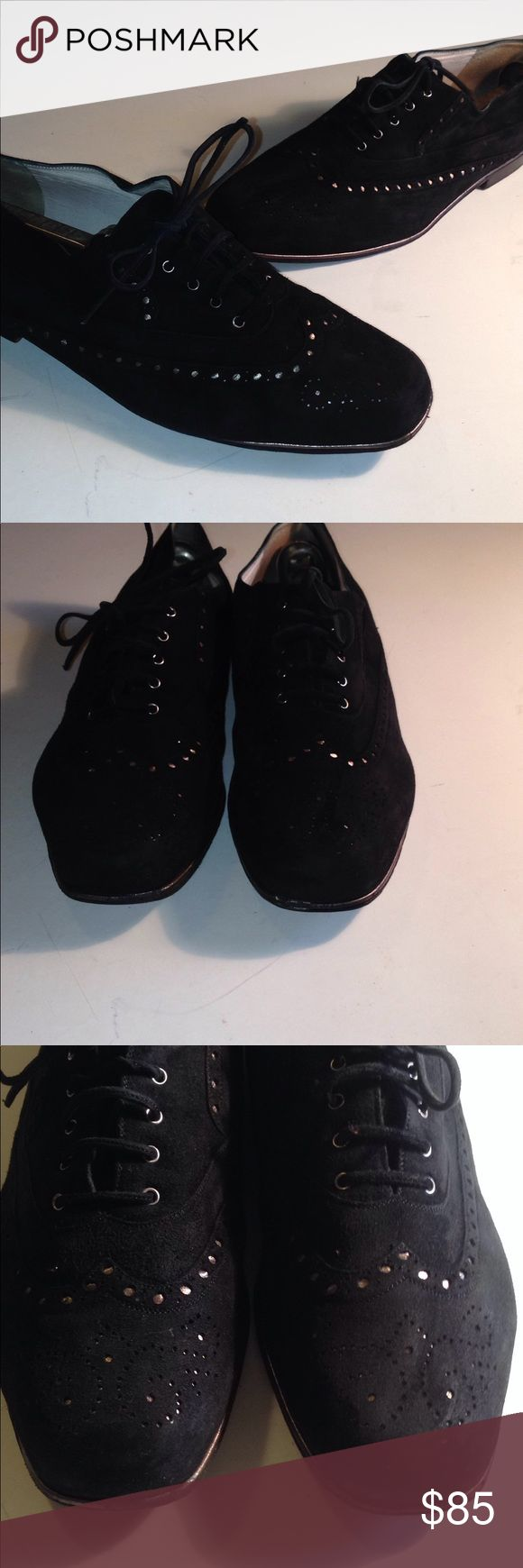 Maud Frizon loafers Jet black suede tie up flats. Perforated vamp design with metallic gold underlay. Leather lining & soles. Serial numbers on soles . In good condition comfy & quality MAUD FRIZON Shoes Flats & Loafers