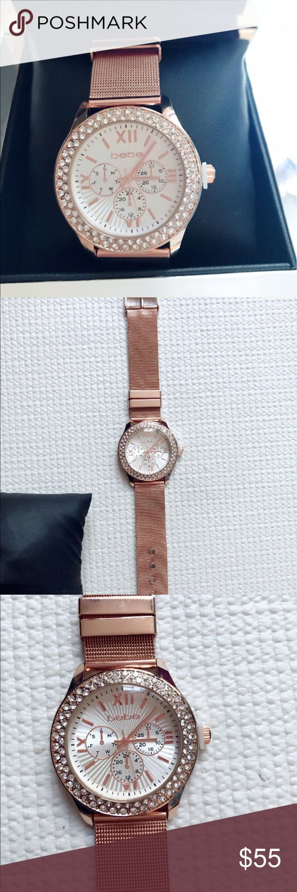 💝Bebe Authentic Watch Rose Gold Authentic Rose Gold Bebe Watch. Stainless steel caseback  style BEB5066. With battery, none of the stones are missing and comes with the original box. New from the store. bebe Accessories Watches
