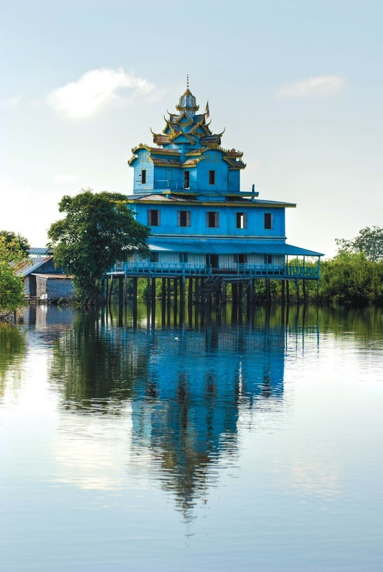 Blue house on the water, Cambodia.   www.liberatingdivineconsciousness.com