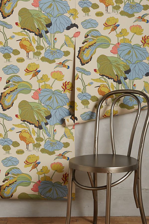 Humming Marsh Wallpaper by Anthropologie in Assorted, Wall Decor Unique Wallpaper, Damask Wallpaper, Brick Wallpaper, Home Wallpaper, Nature Wallpaper, Designer Wallpaper, Wallpaper Ideas, Kitchen Wallpaper Vintage, Bathroom Wallpaper