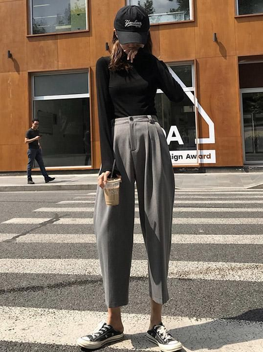 Urban suit trousers with high waist and straight leg