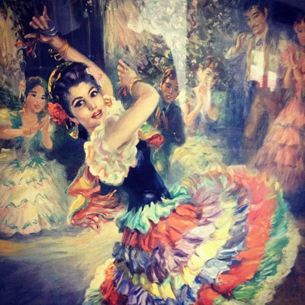 """Photo by quiet_vintage_sewing - New print  """"Ole Gitana"""" by Stevens - detail"""