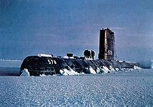 USS Skate (SSN-578) surfaced in the Arctic 1959. It had reached the North Pole Aug. 11, 1958, the week after USS Nautilus.