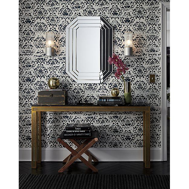 damask navy and white traditional paste wallpaper | CB2
