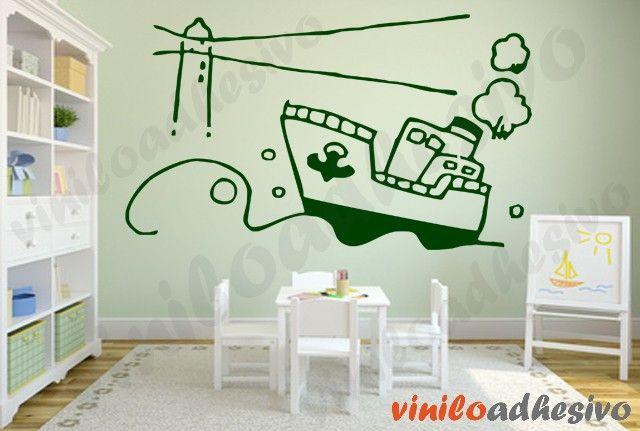 Vinilos infantiles, barco navegando - Vinilos decorativos infantiles #viniloadhesivo