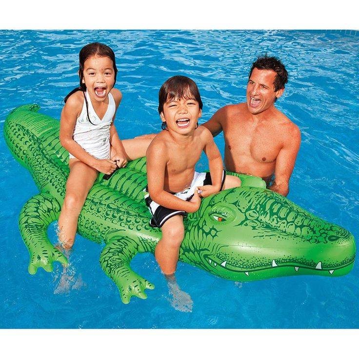 Inflatable Float Ride On Giant Crocodile Swimming Pool Toy For Kids Rideable