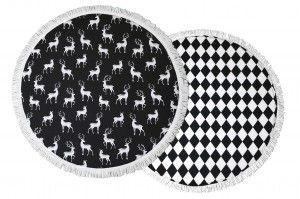 Deers and black diamonds floor mat, finished with white tassels. Lovely kid's room decor.