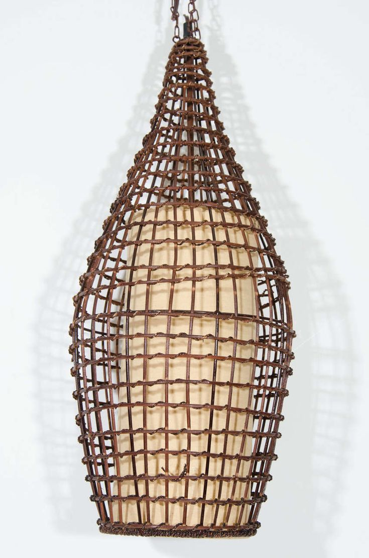Midcentury Basket Style Wicker Pendant or Lantern | From a unique collection of antique and modern lanterns at https://www.1stdibs.com/furniture/lighting/lanterns/