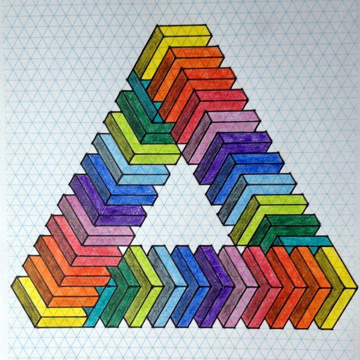 #impossible #opticalillusion #penrose #penrosetriangle #Escher #Mc_Escher #oscar #reutersvärd #triangle #isometric #art