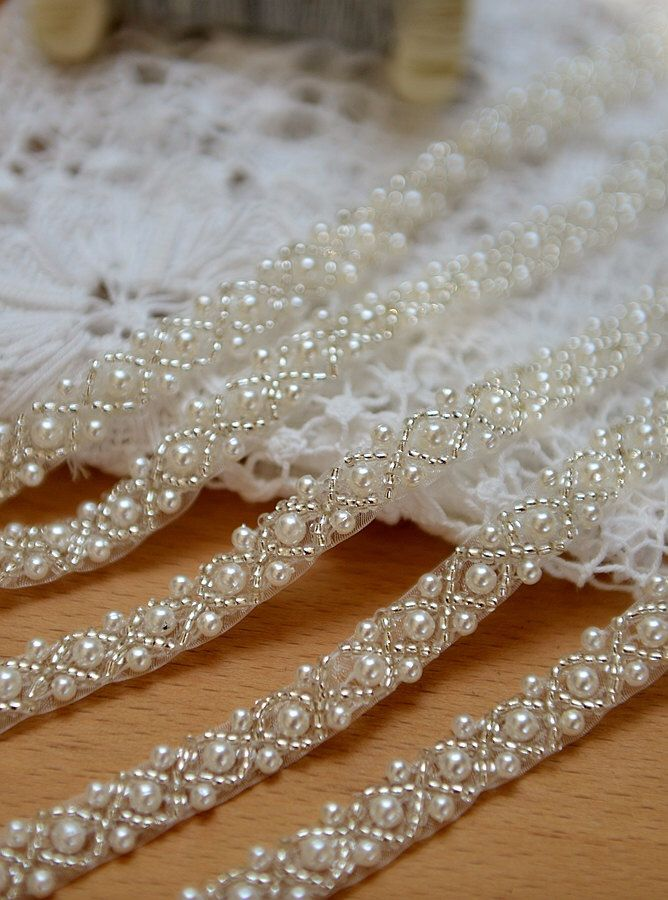 pearl beaded trim, bridal sash, beaded jewelry Trim, clear beads trim by LaceFun on Etsy https://www.etsy.com/listing/214632489/pearl-beaded-trim-bridal-sash-beaded