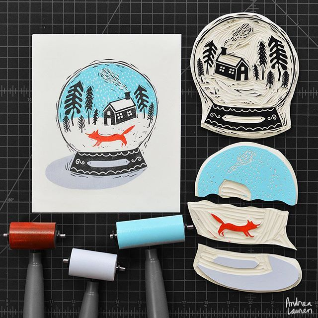 Having fun carving and printing this winter snow globe in four colors