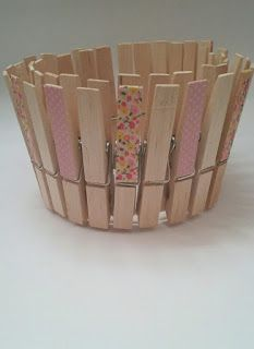Maceta DIY decorada con pinzas y washi tape