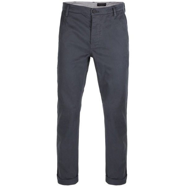 AllSaints Charge Chino ($128) ❤ liked on Polyvore featuring men's fashion, men's clothing, men's pants, men's casual pants, men, boys, guys, slate, mens slim fit chino pants and mens pants
