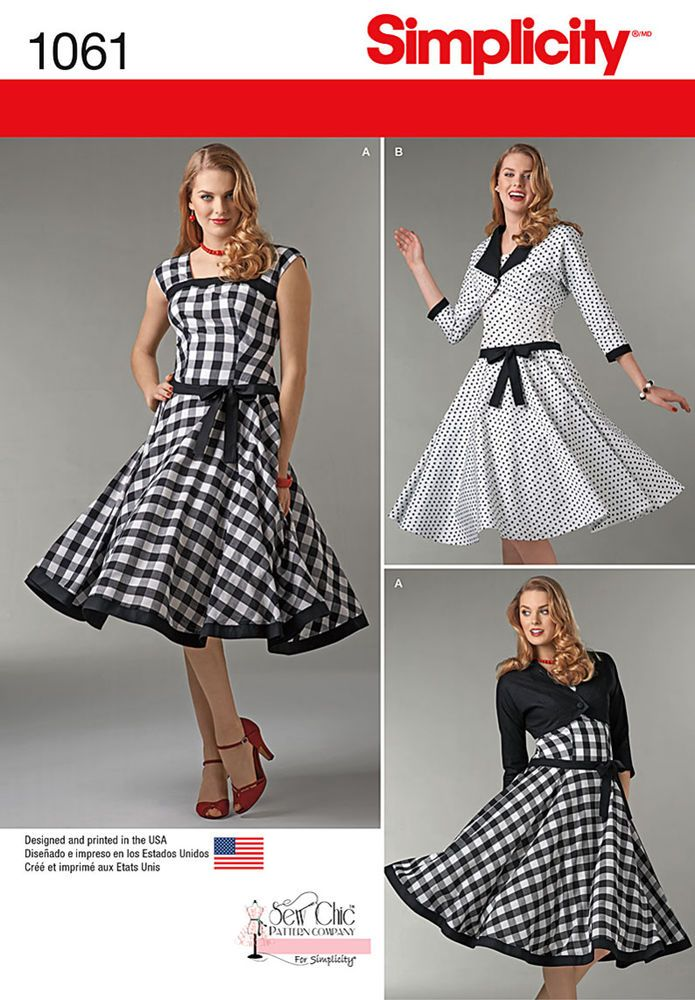 Simplicity 1061. This one has an extremely detailed sew-along blog.  Retro style sleeveless dresses with square necklines can have contrast bands and contrast jacket, or dress with contrast skirt and jacket with contrast band and jacket facings. sew chic for simplicity.