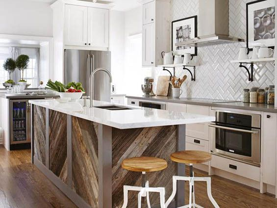 Cool use of wood in the kitchen.   Sarah Richardson Kitchens