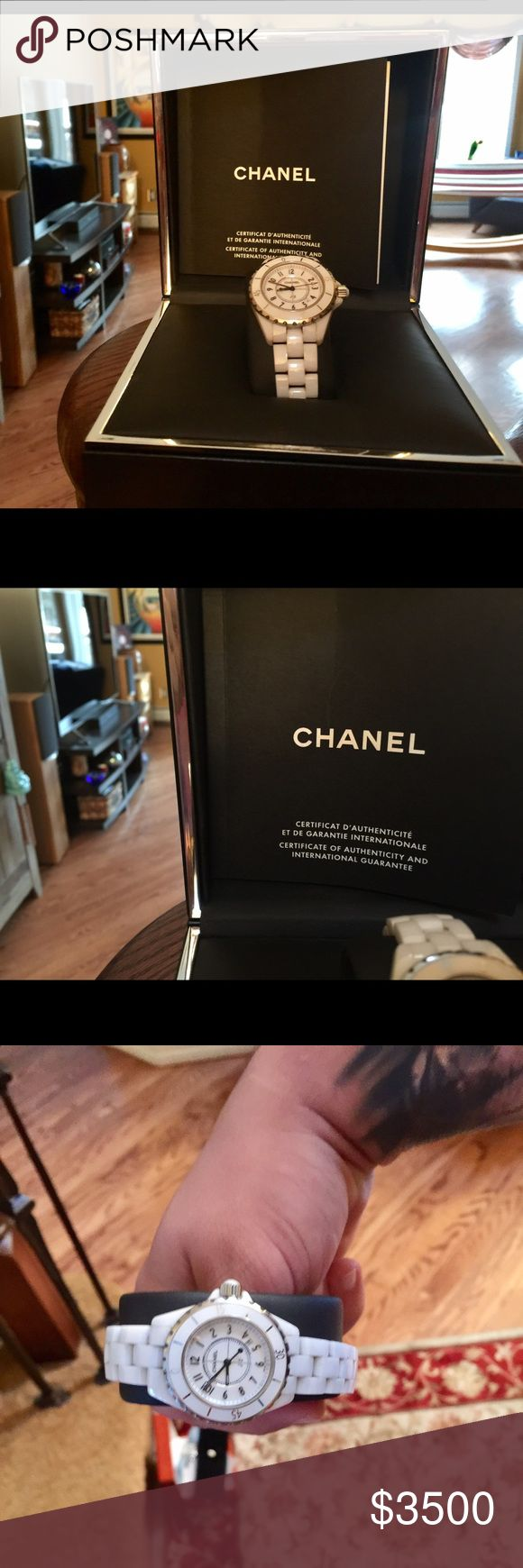 Chanel J12 Watch COMES WITH BOX AND PAPERS+LINKS White Ceramic and Steel Chanel J12 Watch Comes With Original Box, Certificate of Authentication, Mint Condition barely worn.No defects. No signs of Wear. WAS sized down but have the extra links! May need new battery, was recently cleaned. Retails- $5400 My price- $3000. CHANEL Jewelry