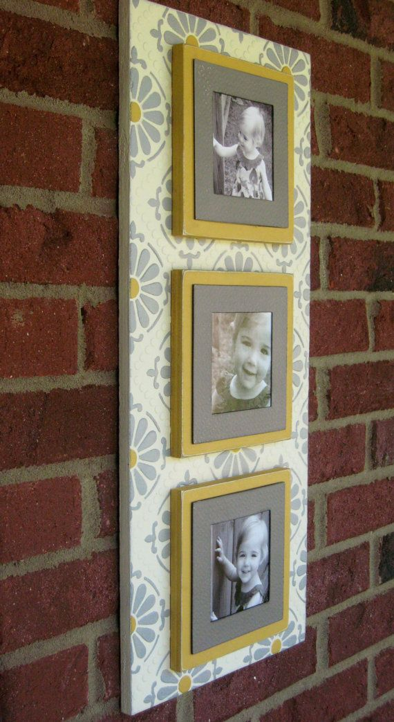 Gray & Yellow Triple Magnetic Photo Frame Wallscape: Faux Painted Wooden Frame - Gray, Yellow, Ivory