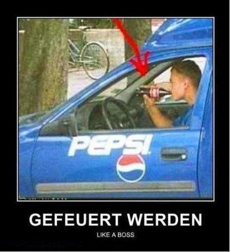 Wer mag Pepsi! Fail Bild Also dem Fahrer schmeckt es wohl nicht ! witze meme lustiges zitate humor funny bilder
