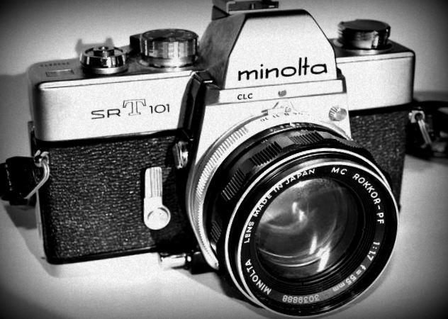 Minolta SRT 101 35mm film camera.