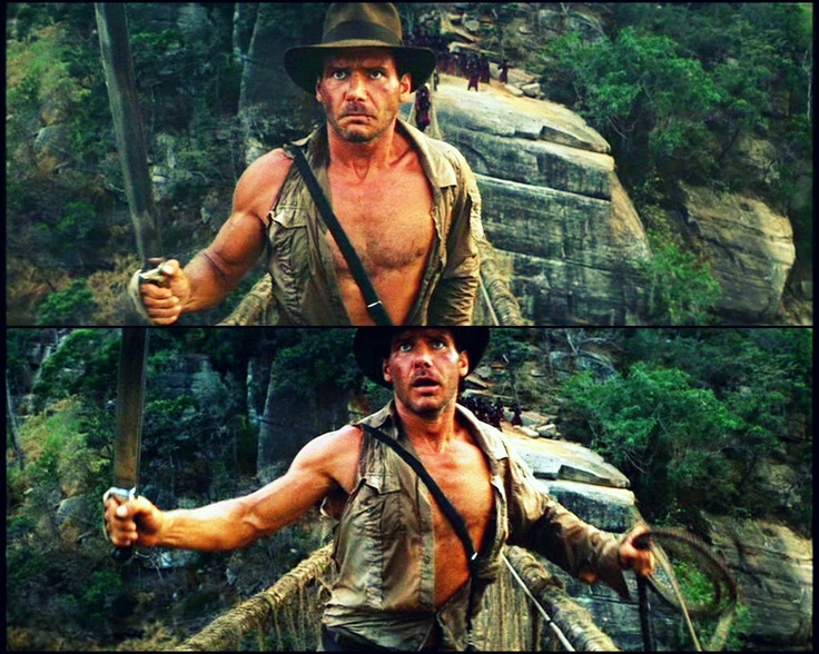 Many focus on Raiders but to me, Indy's stand on the bridge in Temple defines him.