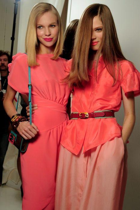 Britt Maren & Caroline Brasch Nielsen backstage atFendi S/S 2011
