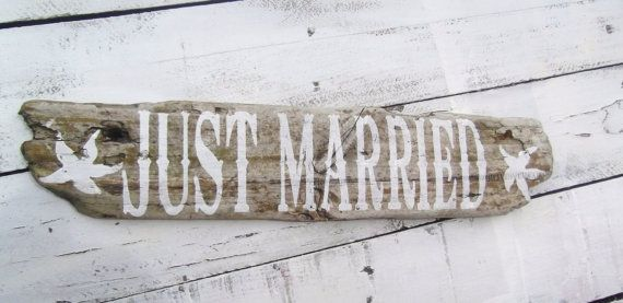 Just Married Beach Wedding Sign Rustic By Designsofexpression 22 00 Thrifty Crafty In 2018 Pinterest Signs And