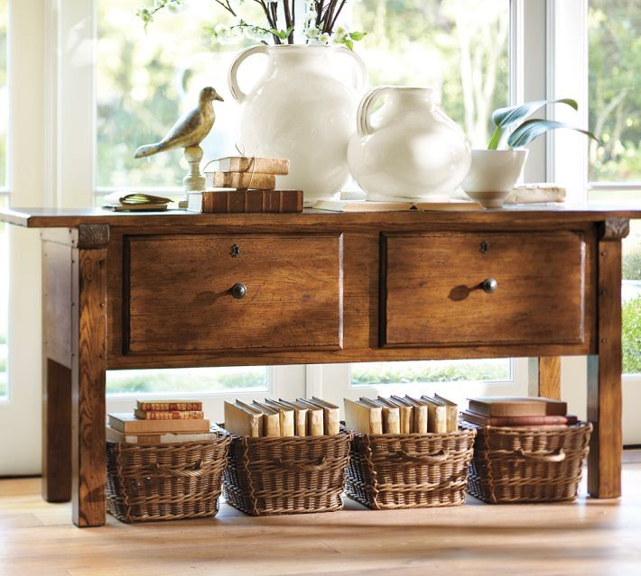 This would work for behind the couch or as a buffet for the dining room. I  like the idea of baskets for different areas of use. I am a basket collector.