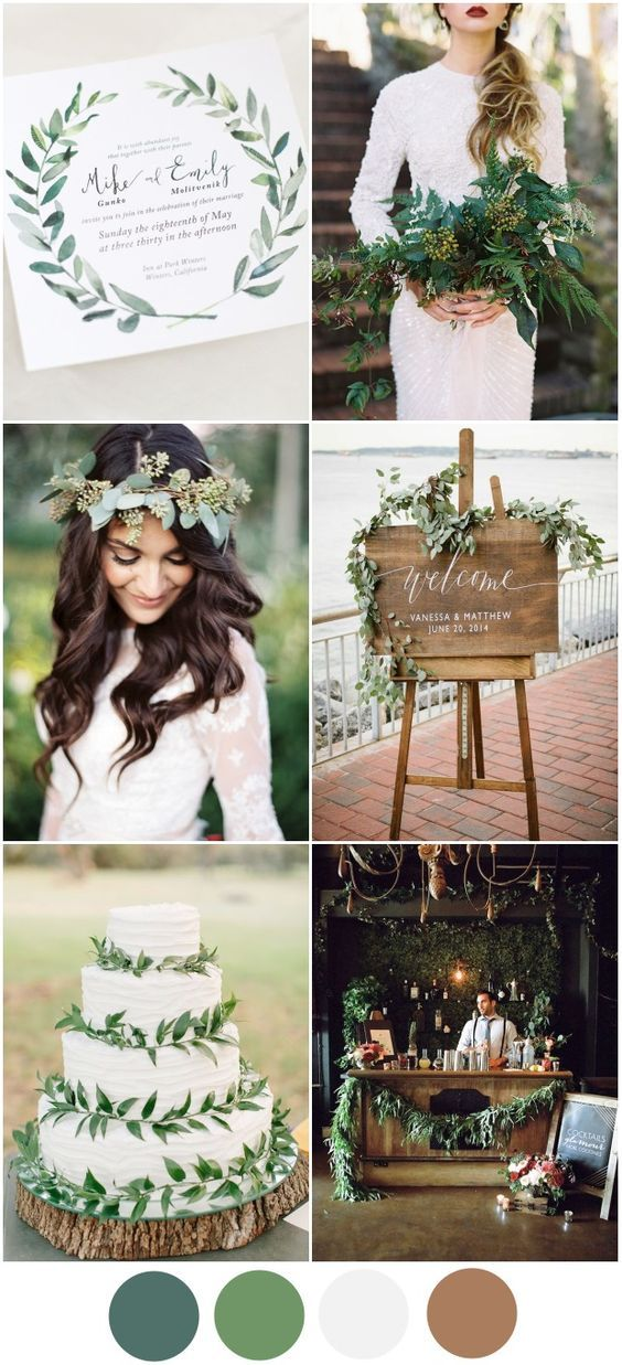 Greenery Wedding Theme 2016 Wedding Colour Palettes - One of our favourite palettes this year is this elegant, earthy greenery theme. Perfect for autumn/winter (although we wouldn't tell spring brides to rule it out either!), a greenery theme can be integrated in to every part of the Big Day from invites to bouquets to the cake!: