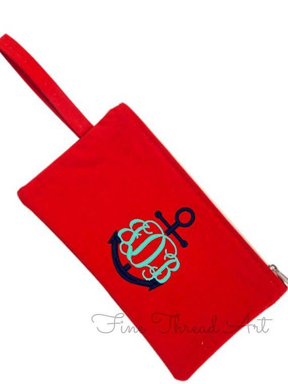 Solid Canvas Monogram Zipper Bag Pencil Bag Back to School