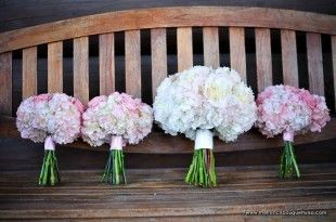 Soft Pink Bouquets of Roses, Hydrangea and Peonies - The French Bouquet - Storybook Wedding Photography