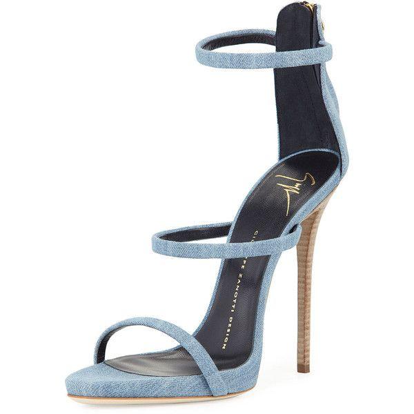 Giuseppe Zanotti Denim Triple-Strap 110mm Sandal featuring polyvore, women's fashion, shoes, sandals, heels, giuseppe zanotti, denim, shoes sandals classic, platform stilettos, stiletto sandals, strappy platform sandals, giuseppe zanotti sandals and heels stilettos