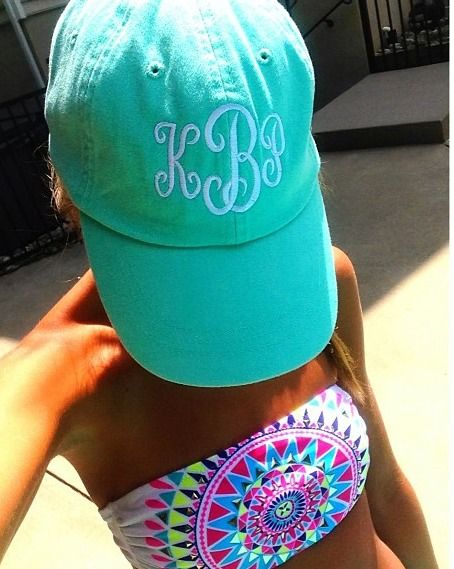 Perfect inexpensive gift! Every girl needs a monogrammed baseball cap!