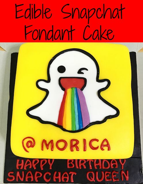 A snapchat cake that is entirely edible. Made using Marshmallow fondant! To the snapchat queen, HAPPY HAPPY BIRTHDAY :)