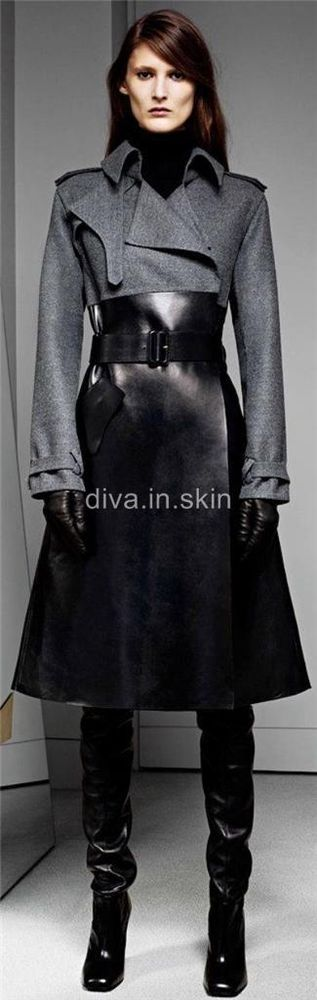 COW SKIN AND WOOL TRENCH WINTER COAT JACKET TAILOR MADE #tailormade #Trench