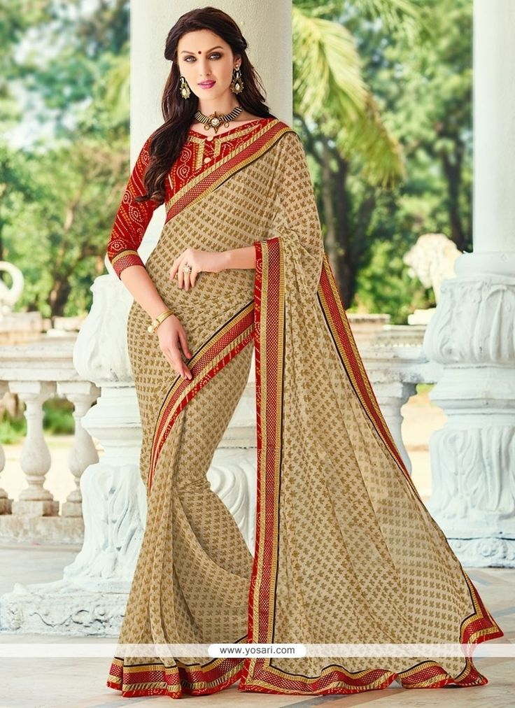 Preferable Beige Georgette Traditional  Saree Model: YOSAR9731
