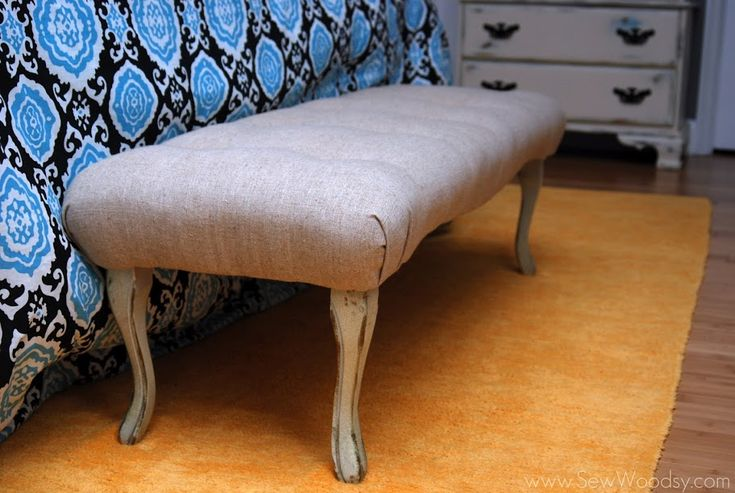 how to reupholster an ottoman with legs