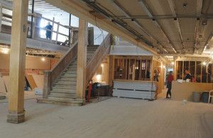 Construction at the Beveridge Building has sought to incorporate several features of the historical building, including the staircase and the hardwood floor. --NEWS PHOTO CHARLES LEFEBVRE