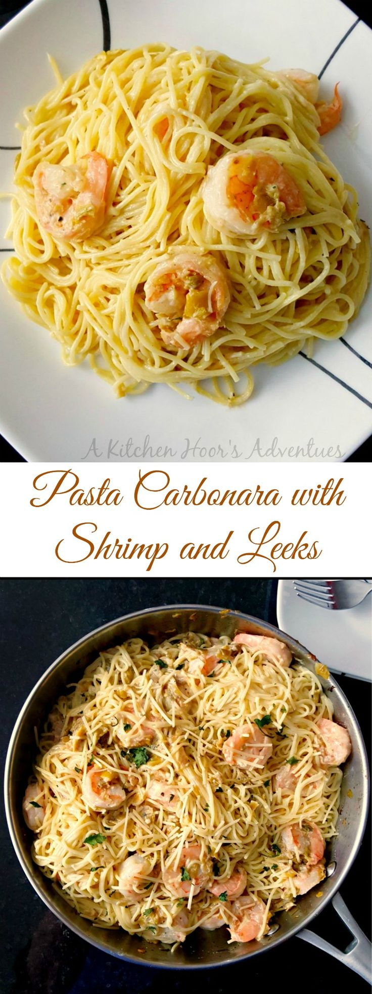Egg-straordinary #SundaySupper - Pasta Carbonara with Shrimp and Leeks recipe is a fast paced recipe that tastes amazing and is on the table super quick! The eggs combine with the cheese to make a silky smooth sauce for the pasta.