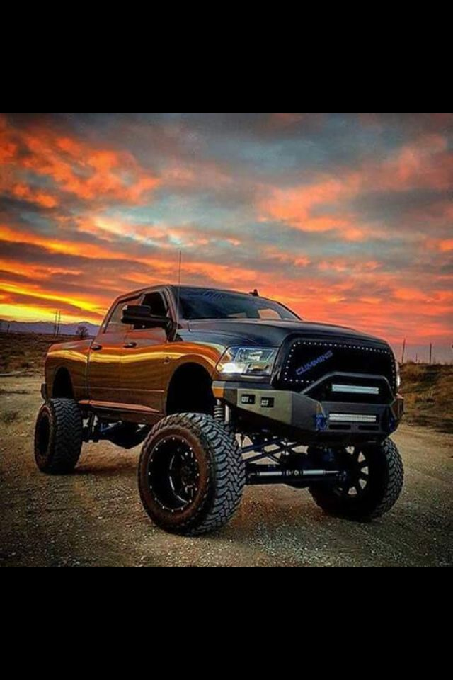 Gray Lifted Dodge Cummins with a sunset. #Dodge #Cummins #Lifted #Black #Sunset