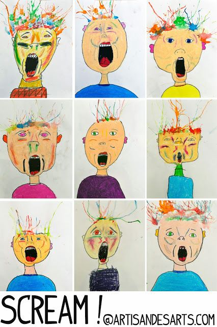 Screamy portraits with straw-blown hair. I love that her students interpreted…