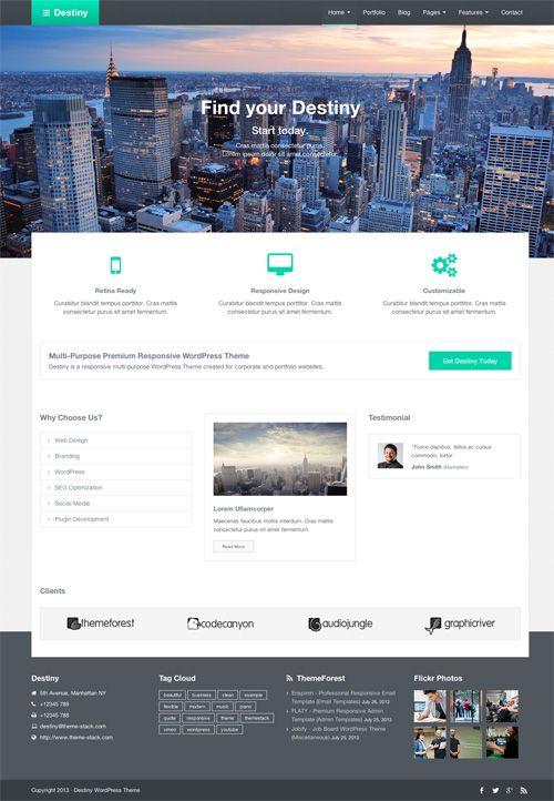 Destiny - Responsive Multi-Purpose WordPress Theme #wordpressthemes #responsivedesign