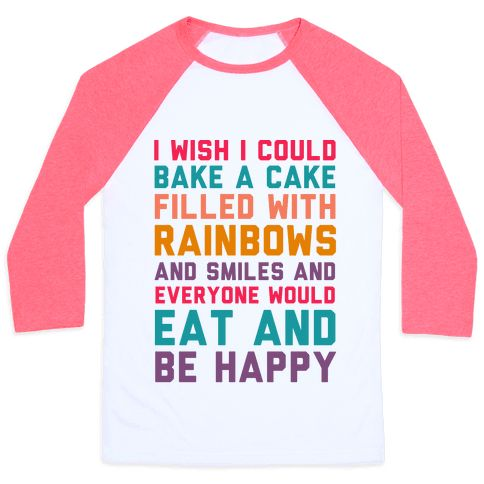 "This funny baking shirt is perfect for cake lovers, dessert fans and mean girls because ""I wish i could bake a cake filled with rainbows and smiles and everyone would eat and be happy."" This mean girls shirt is great for fans of mean girls quotes, baking t shirts, gifts for bakers, funny movie quotes and movie shirts."